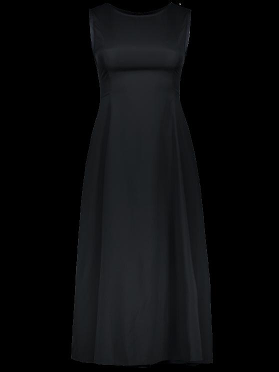 Sleeveless Round Neck Loose Fitting Midi Dress - BLACK L Mobile