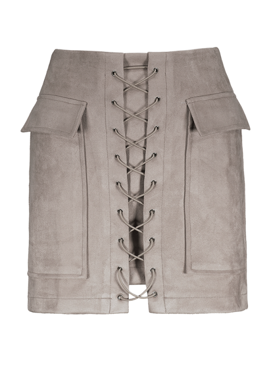 ladies Lace Up Faux Suede Mini Skirt - OFF-WHITE S
