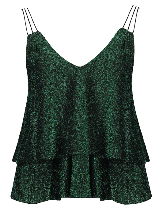 Cropped Layered Strappy Glitter Tank Top - BLACKISH GREEN L Mobile