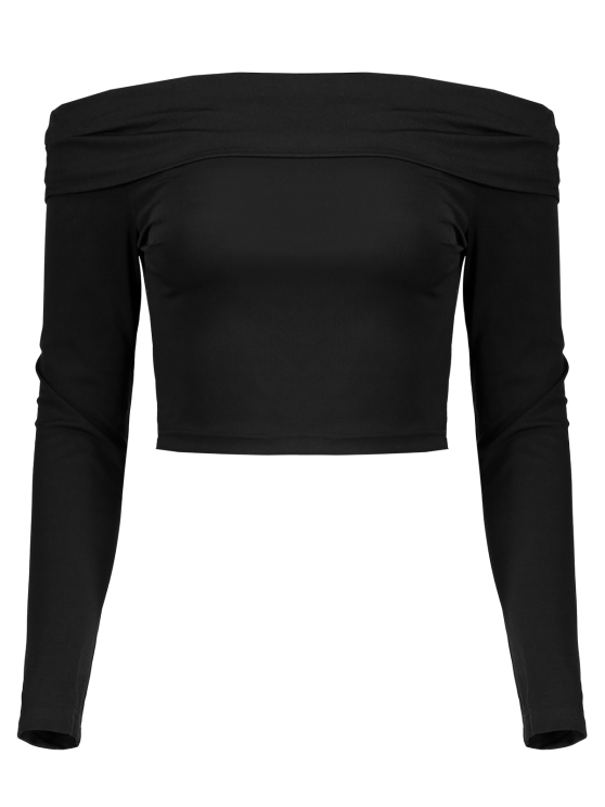 Long Sleeved Off The Shoulder Top - BLACK L Mobile