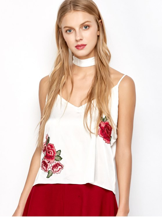 Satin Camisole Top With Choker Strap - WHITE M Mobile