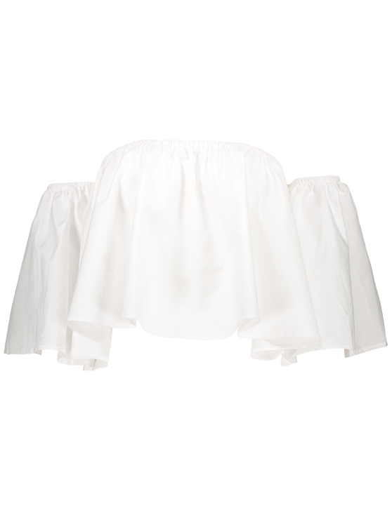 White Flounce Off The Shoulder Blouse - WHITE M Mobile