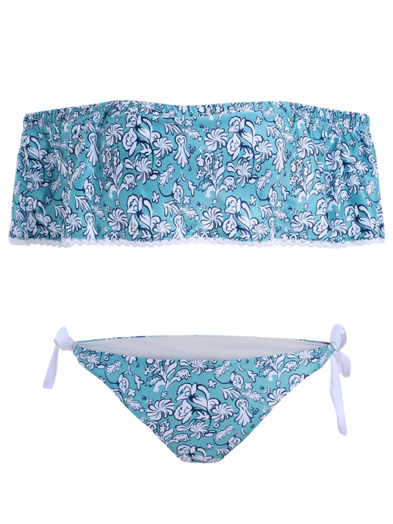Off Shoulder Padded Tiny Floral Bikini - BLUE GREEN S Mobile