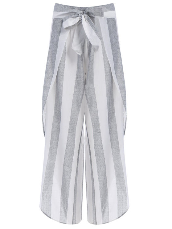 Asymmetric High Waisted Striped Pants - GRAY M Mobile