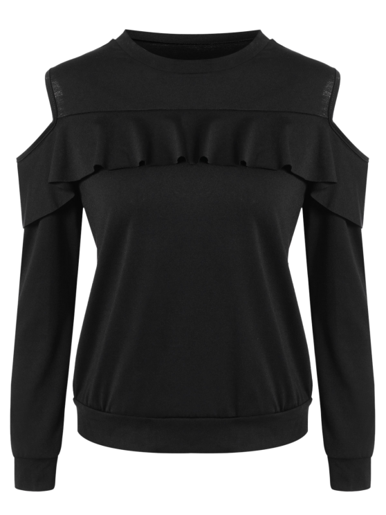 Cold Shoulder Ruffles Sweatshirt - BLACK S Mobile