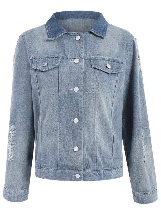 Point Collar Ripped Denim Jacket - LIGHT BLUE M Mobile