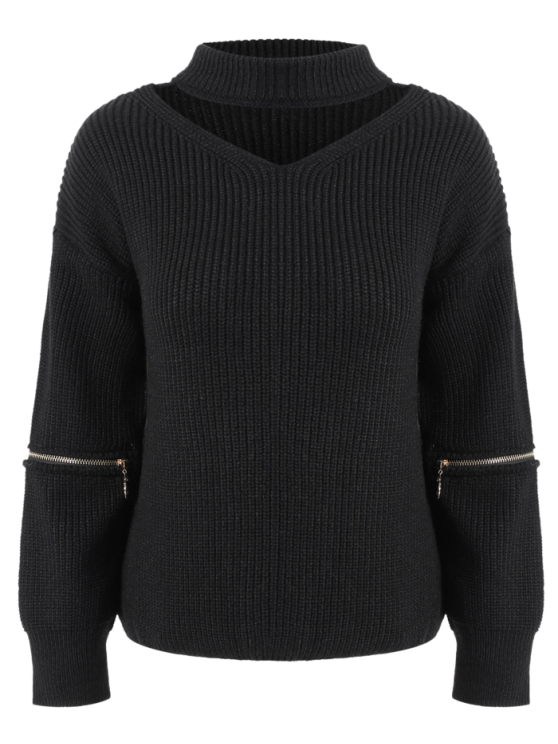 hot V Neck Oversized Choker Sweater - BLACK ONE SIZE