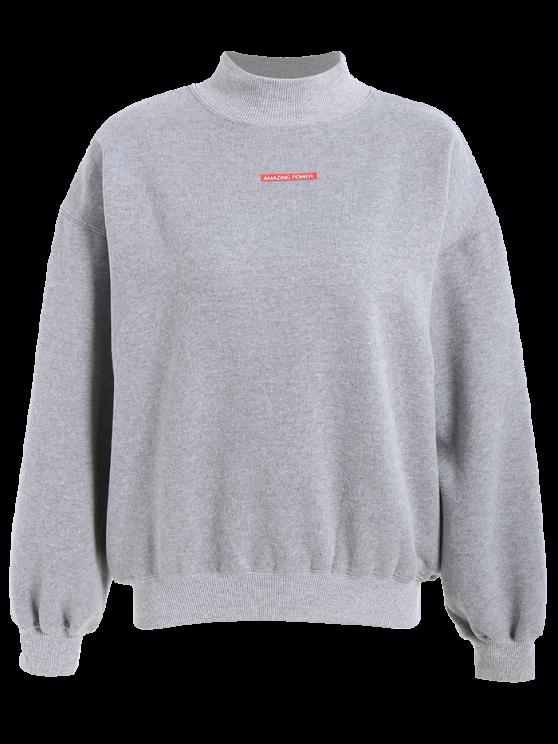 shop Lettering Fleece Sweatshirt - GRAY ONE SIZE