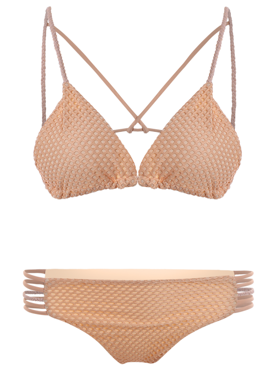 Braid Strappy Grid Bikini Set - COMPLEXION M Mobile