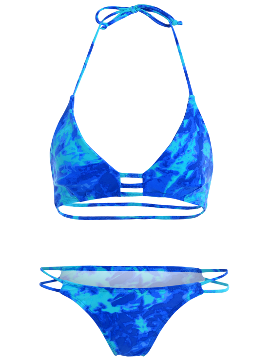 High Cut Lattice Tie Dye Bathing Suit - BLUE L Mobile