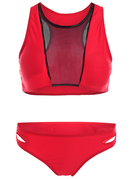 Color Block Mesh Panel Bikini Set - RED S Mobile