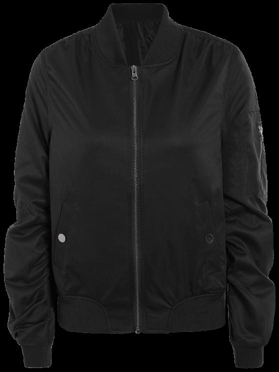 Zippered Sleeve Bomber Jacket - BLACK M Mobile
