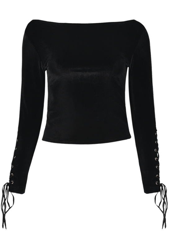 Lace Up Sleeve Round Neck Cropped T-Shirt - BLACK ONE SIZE Mobile