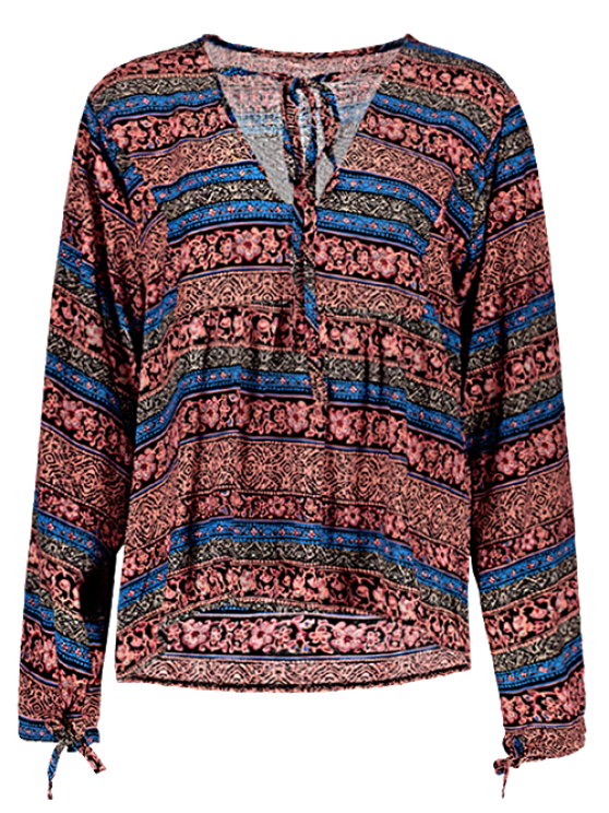 Bohemian Loose Printed Blouse - BLUE M Mobile