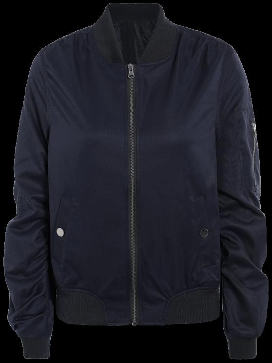Zippered Sleeve Bomber Jacket - BLUE S Mobile