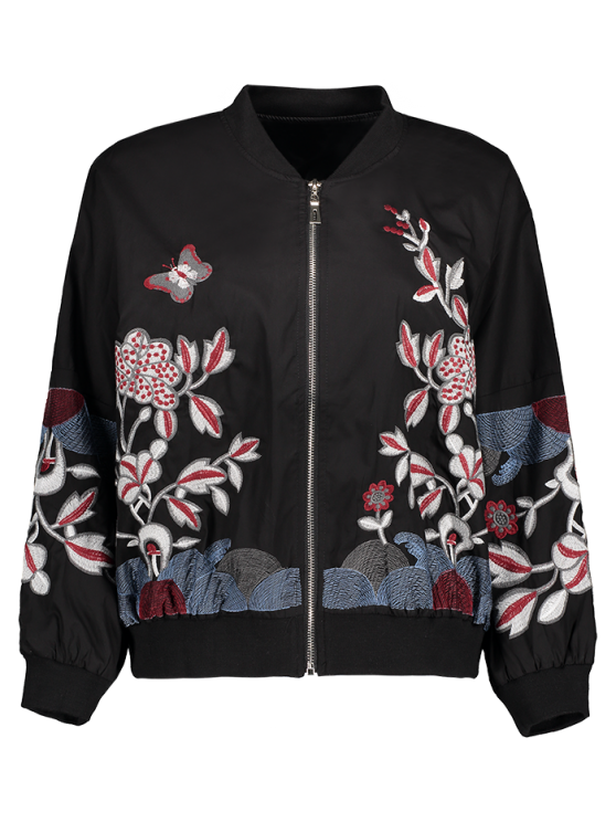outfit Puffed Sleeve Bomber Jacket - BLACK L