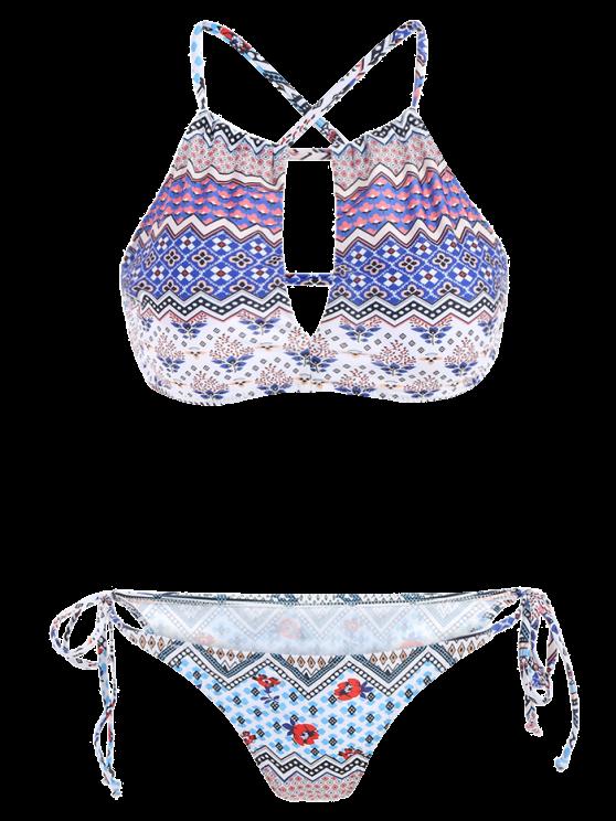 Tribal Tie Side Hollow Out Bikini Set - COLORMIX M Mobile
