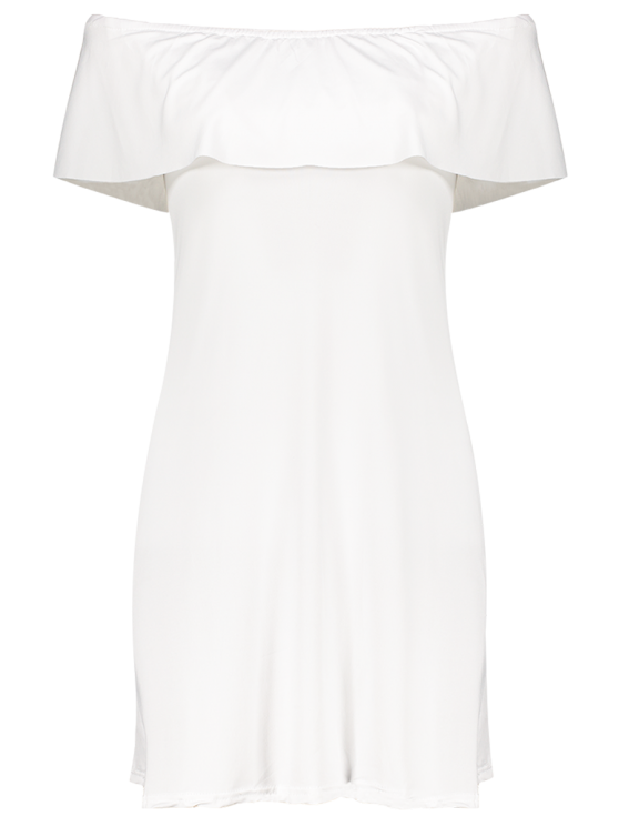 Frilled Off The Shoulder Mini Dress - WHITE M Mobile