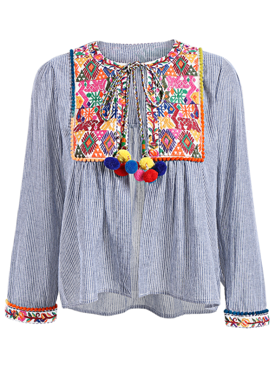 shops Ethnic Embroidery Round Neck Long Sleeves Blouse - COLORMIX S