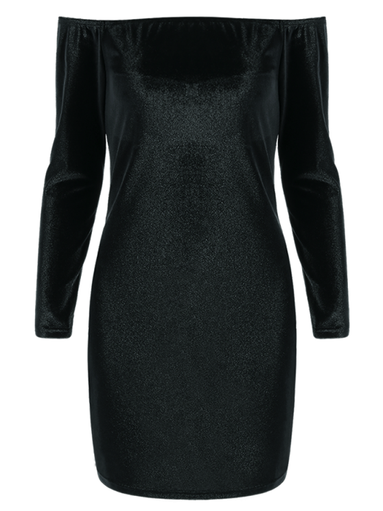 Off The Shoulder Long Sleeve Velvet Dress - BLACK M Mobile