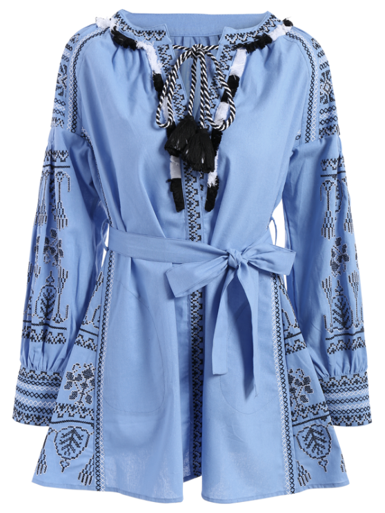 Round Neck Long Sleeve Belted Embroidered Dress - LIGHT BLUE M Mobile
