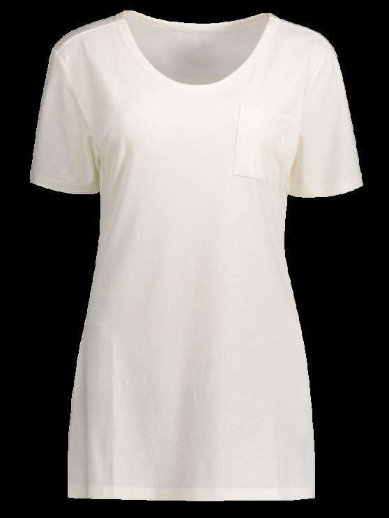 Patchwork Pocket Solid Color T-Shirt - WHITE L Mobile