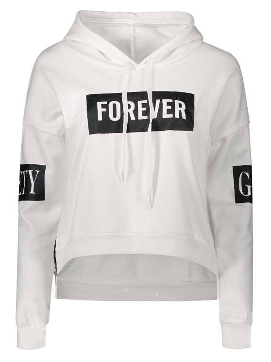 new Side Zipper Graphic Patched Hoodie - WHITE ONE SIZE