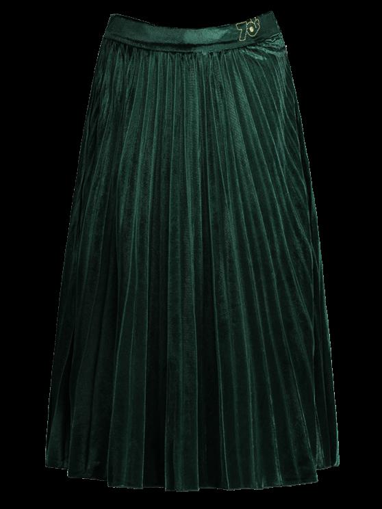 fancy Velvet Pleated Midi Skirt - GREEN L