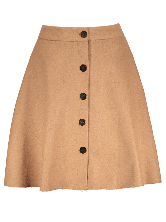 Winter Button Up A Line Skirt - CAMEL M Mobile