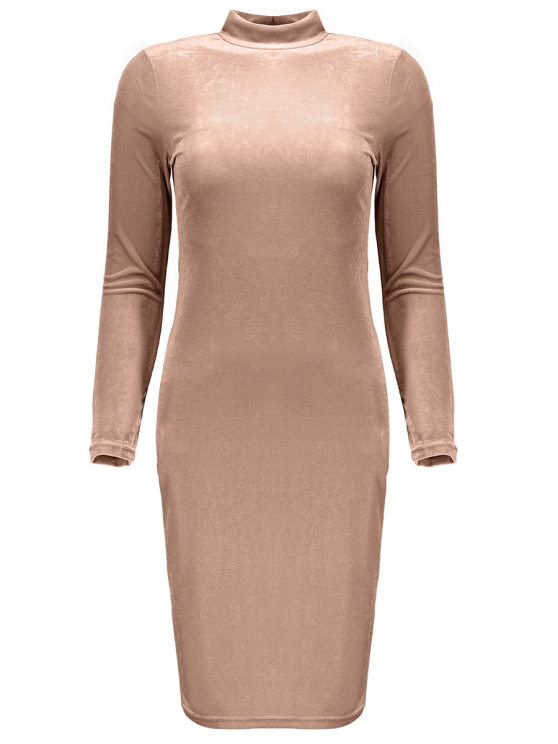 Mock Neck Velvet Mini Bodycon Dress - YELLOWISH PINK ONE SIZE Mobile