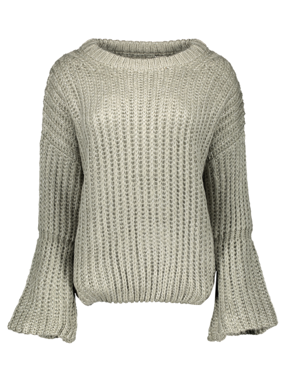 Bell Sleeve Chunky Sweater - GRAY ONE SIZE Mobile