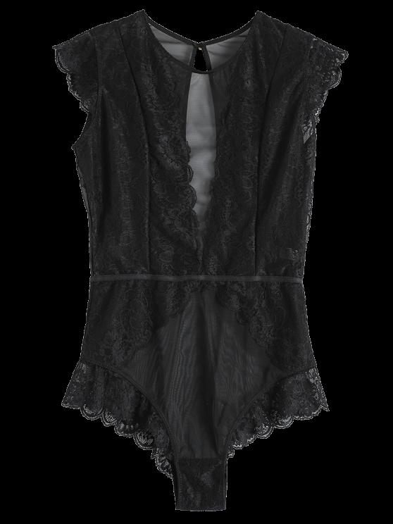 unique Keyhole Plunging Neck Mesh Lace Bodyduit - BLACK M