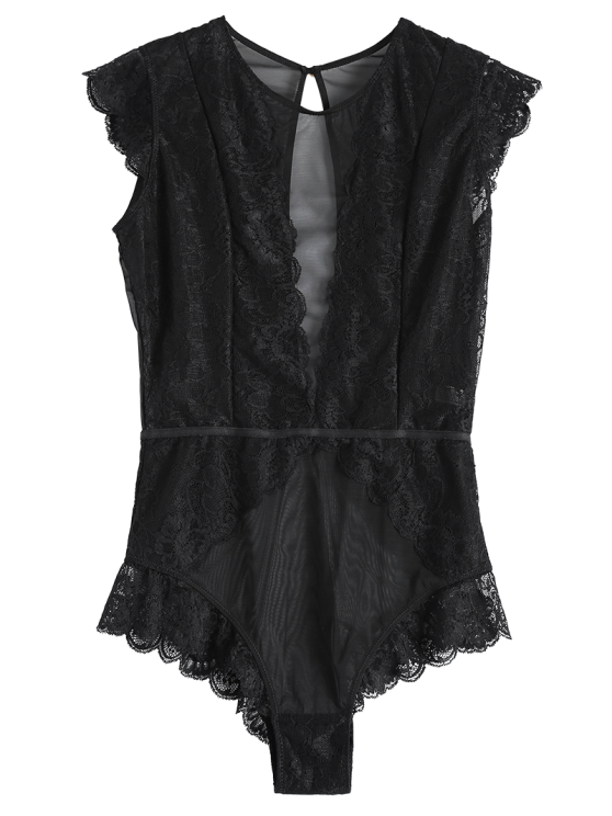 Keyhole Plunging Neck Mesh Lace Bodyduit - BLACK M Mobile