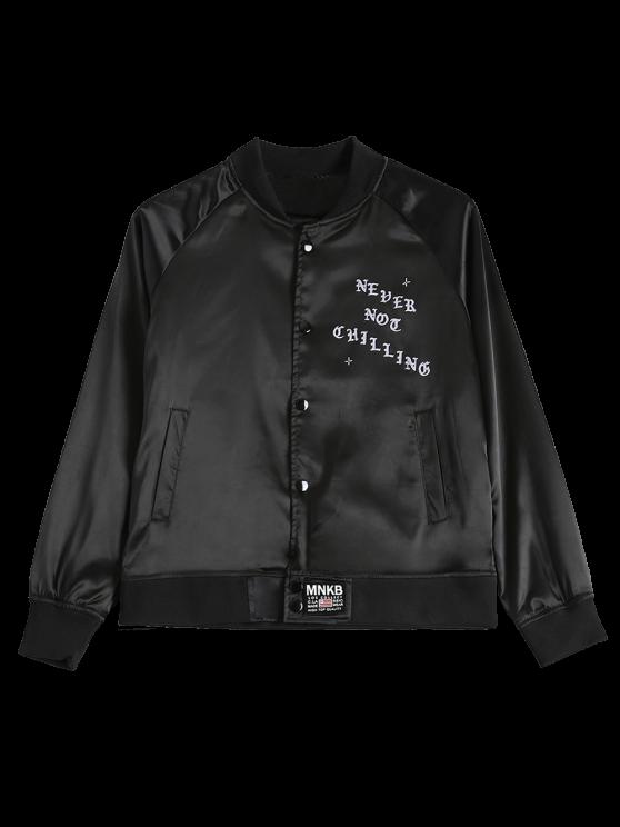 affordable Graphic Bomber Jacket - BLACK S
