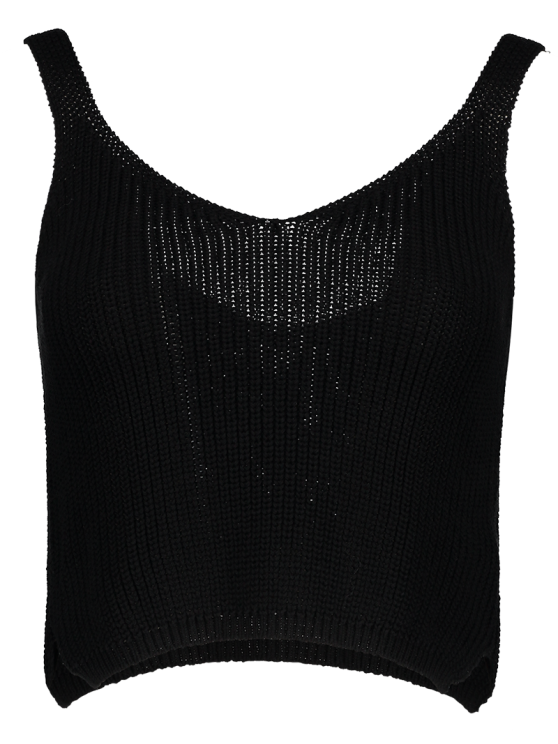 Ribbed Sleeveless Knitted Tank Top - BLACK ONE SIZE(FIT SIZE XS TO M) Mobile