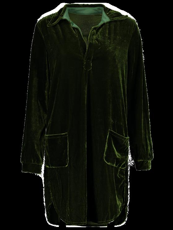 Loose Velvet Shirt Dress - ARMY GREEN S Mobile