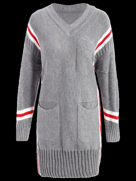 Rayas de gran tamaño suéter largo - Gris Única Talla