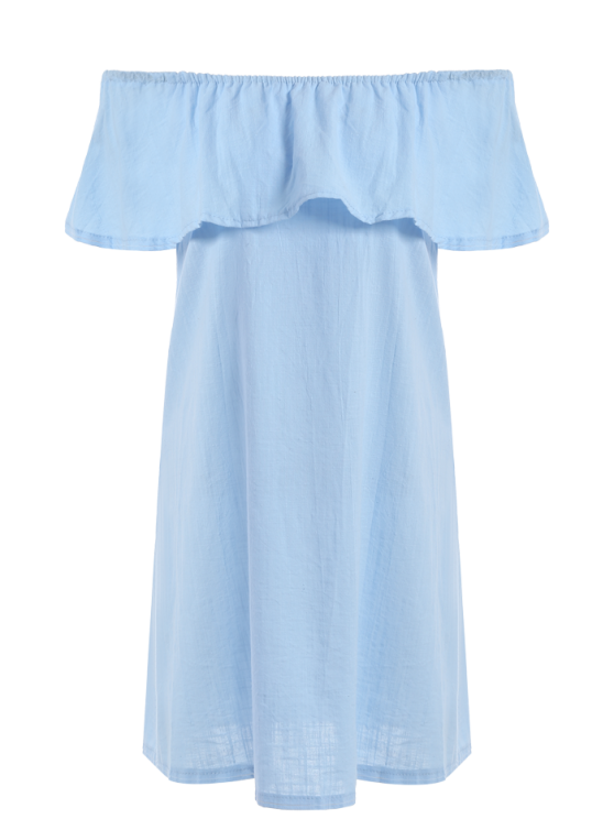 Short Sleeve Off The Shoulder Solid Color Dress - LIGHT BLUE M Mobile