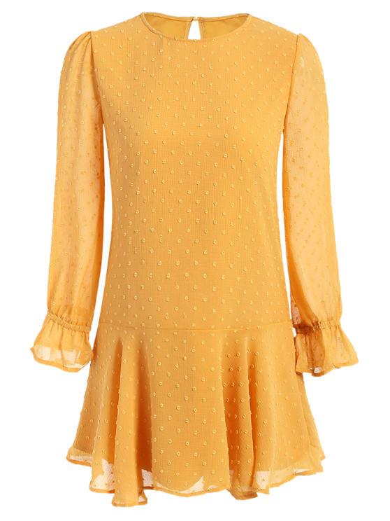 sale Dotted Round Neck Ruffles Shift Dress - YELLOW M