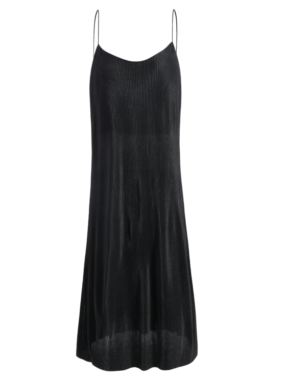 Pleated Slip Dress - BLACK S Mobile