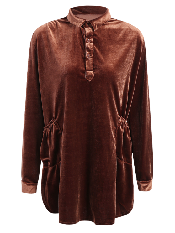 Mini Velvet Tunic Dress - BROWN L Mobile