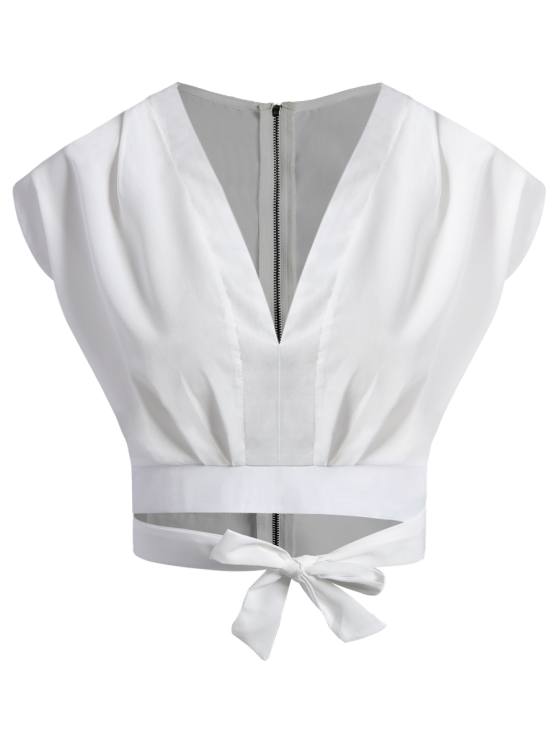 latest Tie Waist Plunging Neck Crop Top - WHITE M