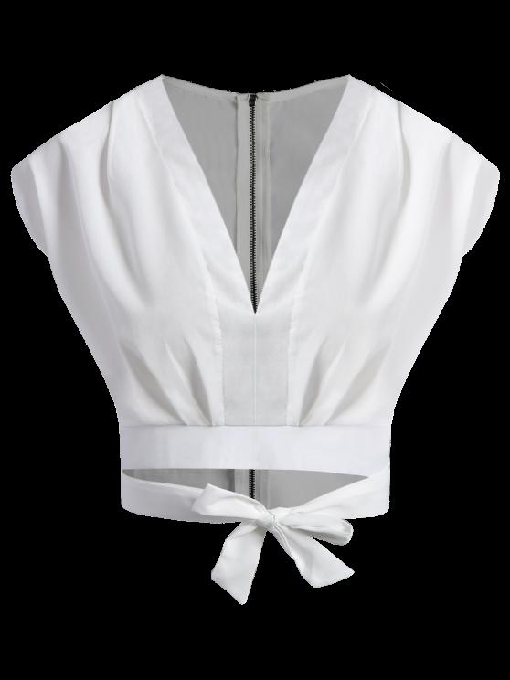 fashion Tie Waist Plunging Neck Crop Top - WHITE XL