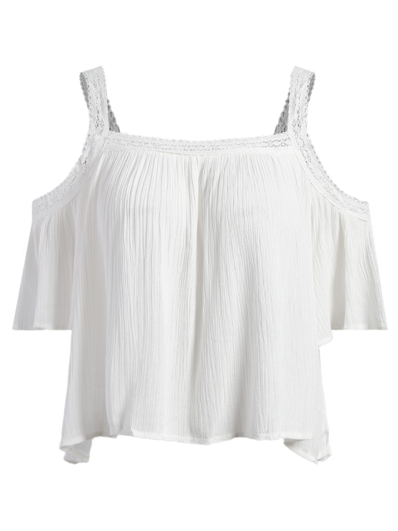 Cold Shoulder Flowy Blouse - WHITE S Mobile