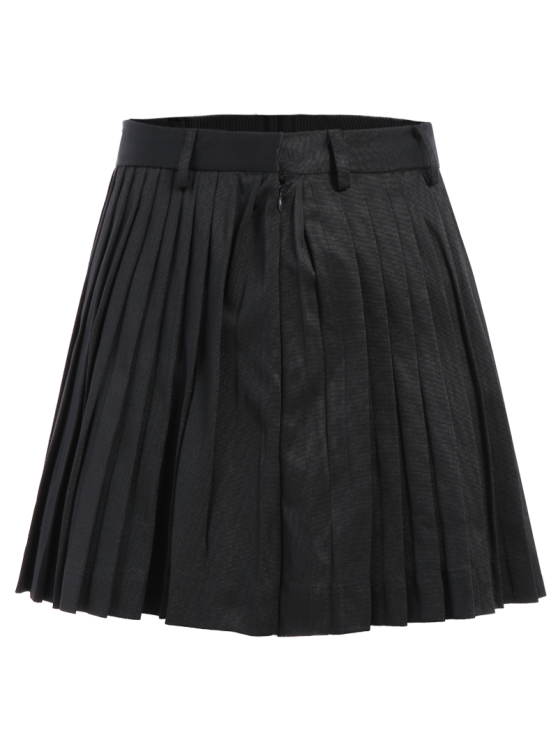 Pleated A-Line Mini Skirt - BLACK S Mobile
