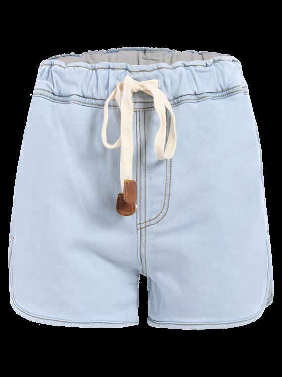 Con cordón pantalones cortos de mezclilla - Azul Claro M