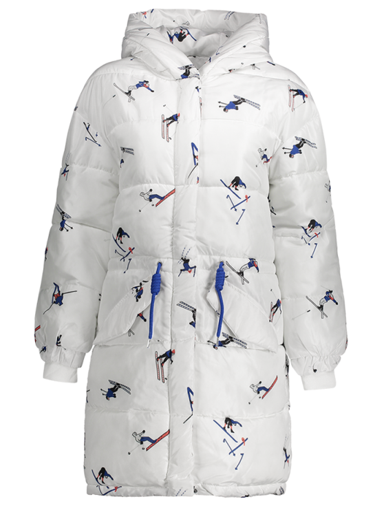 Drawstring Cartoon Print Padded Coat - WHITE 2XL Mobile