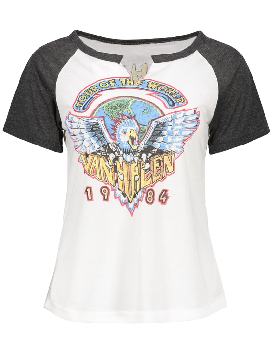 Eagle Print Round Neck Short Sleeve T-Shirt - WHITE S Mobile