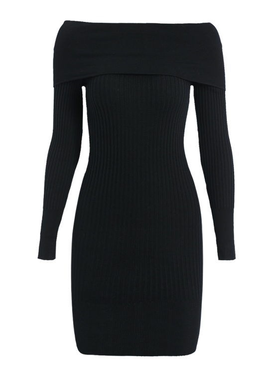 Ribbed Off The Shoulder Sweater Bodycon Dress - BLACK ONE SIZE Mobile