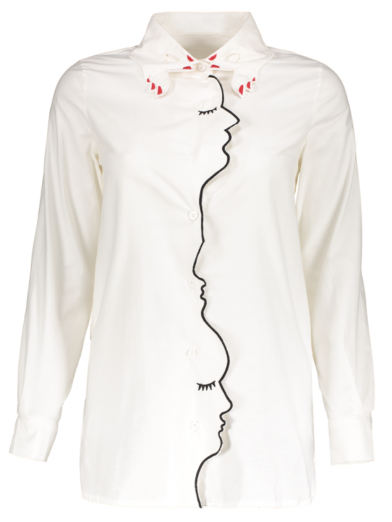 Embroidery Shirt Collar Figure Pattern Shirt - WHITE S Mobile